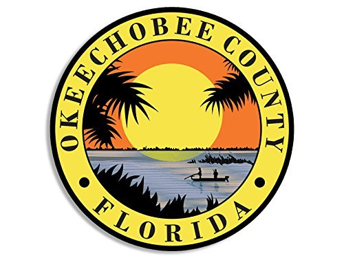 MAGNET ROUND Okeechobee County Florida Seal Magnetic Sticker (fl lake decal)
