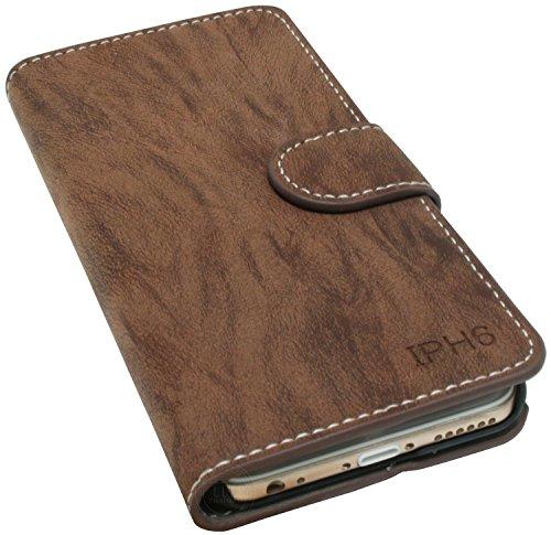 Iphone 6 / 6S Buchtasche Hülle Case Tasche Wallet BookStyle mit STANDFUNKTION Braun @ Energmix
