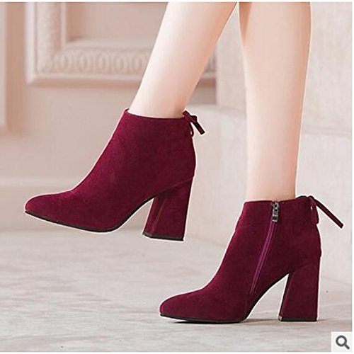 Booties Shoes Boots Closed HSXZ Casual ZHZNVX Comfort Brown Fall for Ankle PU Black Women's Boots Almond Chunky Walking Heel Shoes Toe Brown Wine Spring 67apzqFxpW