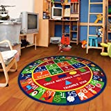 Furnish my Place 755 Shape 3'3 Round Kids ABC Alphabet Numbers Educational Area Rug, 3'3', Multicolor