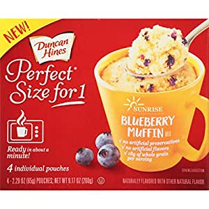 Duncan Hines Perfect Size for 1 Breakfast Muffin and Cake Mix, Blueberry Muffin, 4 individual pouches