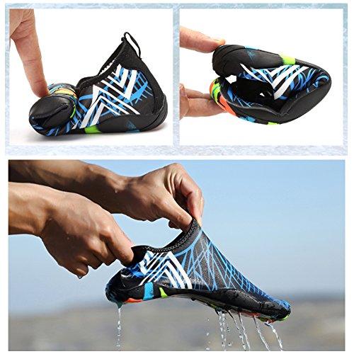 Woky Barefoot Aqua Water Shoes Beach Pool Wet Shoes Quick Drying Sea Sock For Men Women Swim Surf Black-Blue 8foAKtFF