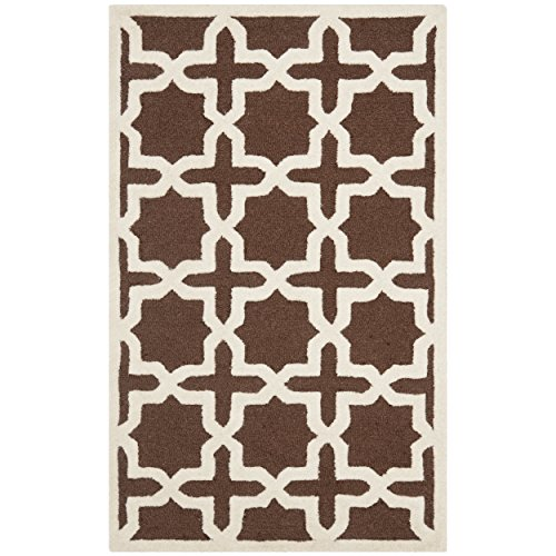 Safavieh Cambridge Collection CAM125H Handcrafted Moroccan Geometric Dark Brown and Ivory Premium Wool Area Rug (3' x 5') - Dark Brown Wool Rug