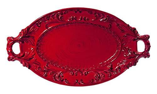 (Intrada BAR7428R Baroque Oval Platter with Handles, Red)