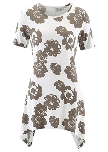 Palster Womens Swing Tunic Tops Slim Fit Floral Printed Blouse T-Shirt