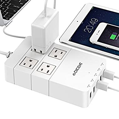 QICENT 4-Outlet Power Strips Surge Protector With Usb Ports, 1700 Joule - White