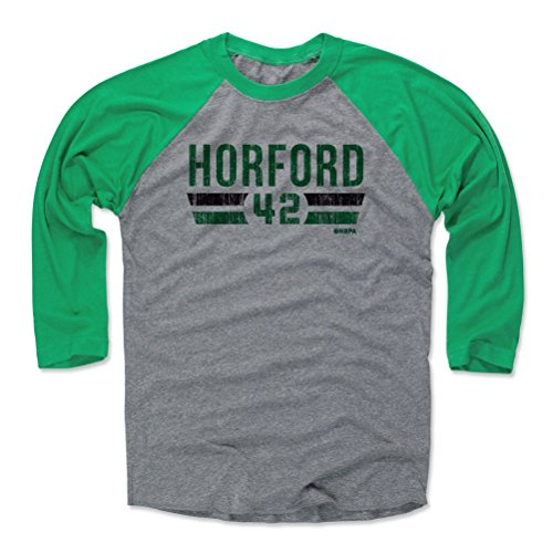500 LEVEL Al Horford Baseball Tee Shirt XX-Large Green/Heather Gray - Boston Basketball Raglan Shirt - Al Horford Boston Font G