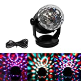 Lianqi Portable Disco Ball Party Projector Lights Multi-color Changes Rotating Crystal Magic Ball Stage Lights,Battery Powered/USB Plug in,Stage Lights Show for DJ KTV Club Bar Party Disco Show