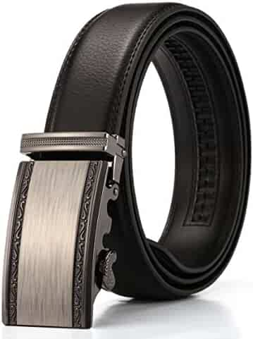 Xhtang Men's Solid Buckle with Automatic Ratchet Leather Belt 35mm Wide 1 3/8