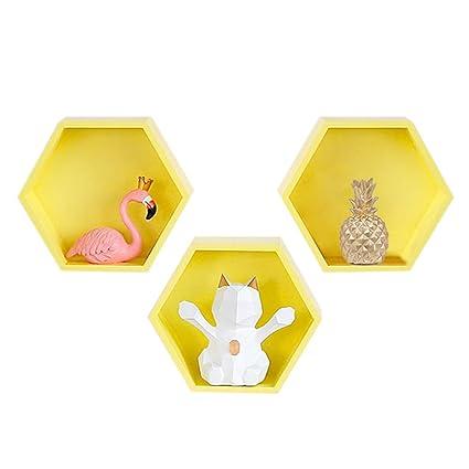 Baffect Juego de 3 estantes hexagonales Estante de pared hexagonal flotante, estante de caja de. Pasa ...
