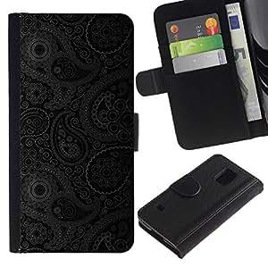 All Phone Most Case / Oferta Especial Cáscara Funda de cuero Monedero Cubierta de proteccion Caso / Wallet Case for Samsung Galaxy S5 V SM-G900 // Pattern Floral Grey Wallpaper