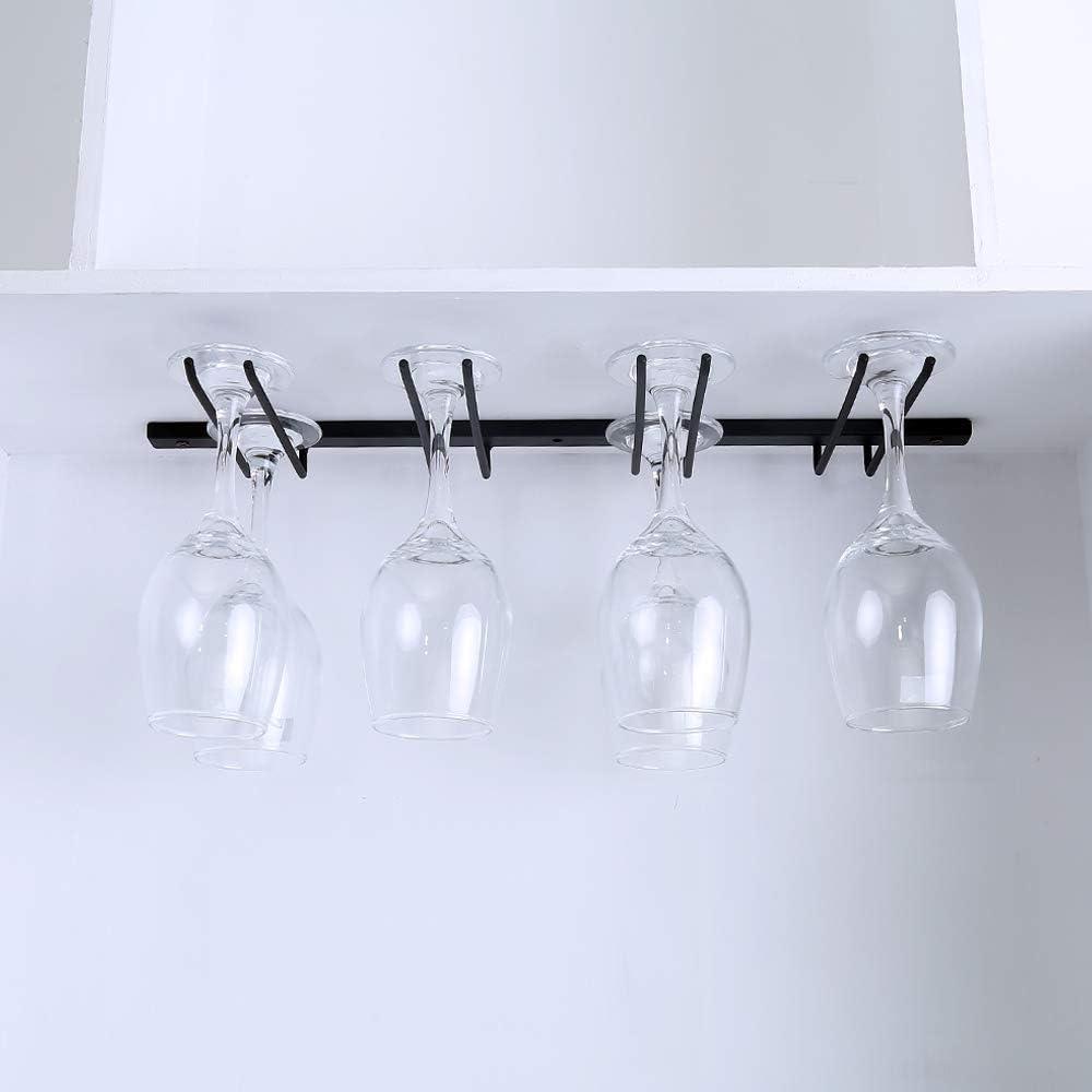 Under Cabinet Wine Glass Rack,Stemware Rack Holds up to 8 Wine Glass,Hanging Wine Glass Holder,Metal Wine Glass Hanger,Glasses Organizer for Home Bar Kitchen Black