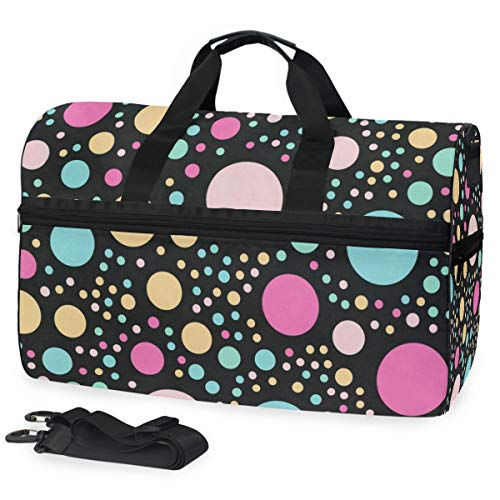 - Gym Bag Colorful Polka Dots Sport Travel Duffel Bag with Shoes Compartment Large Capacity for Men/Women