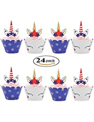 4th of July Cupcake Wrappers and Unicorn Cupcake Toppers for American Independence Day Patriotic Memorial Day Veterans Day Decoration Set of 24