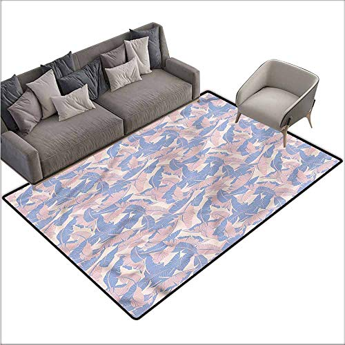 Polyester Non-Slip Doormat Rugs Colorful Tropical,Palm Leaves Soft Tones 60