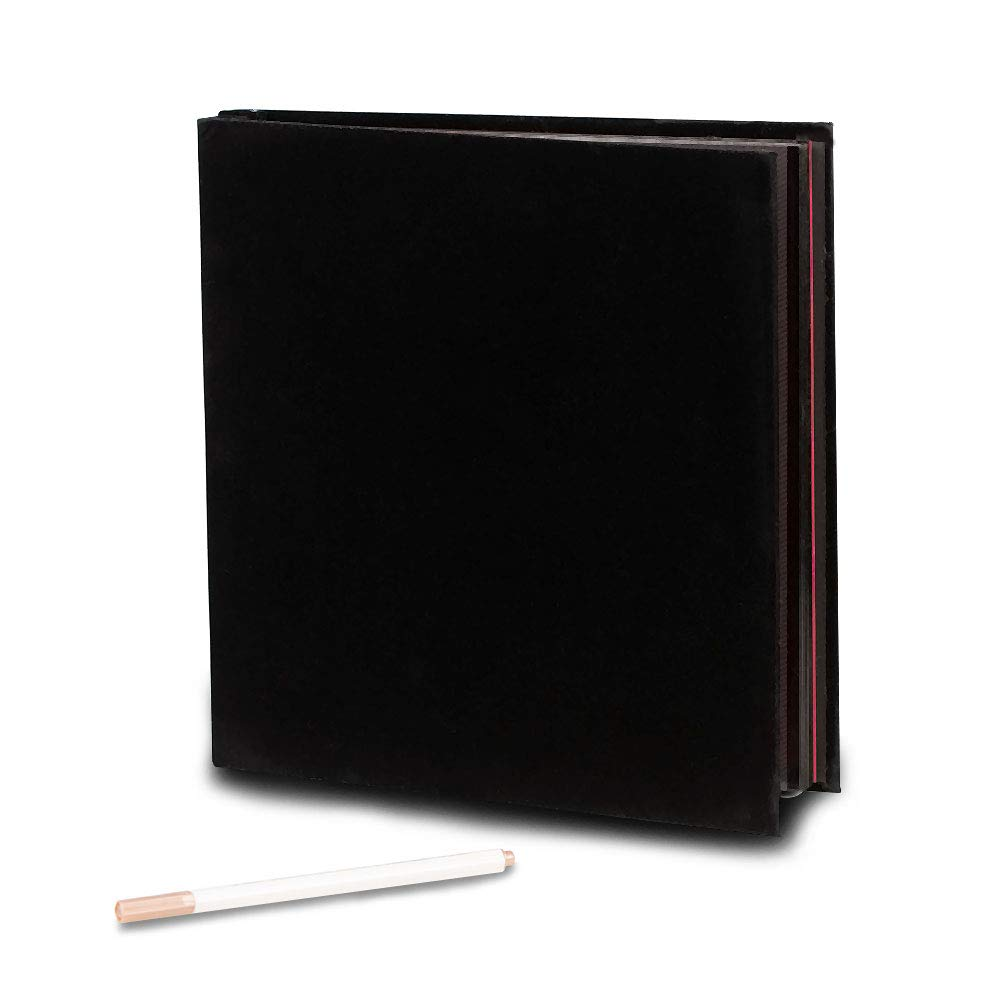 Self Adhesive Photo Album Magnetic Scrapbook Album 40 Pages Flannel Hardcover Length 11 x Width 10.6 (inches) with A Metallic Pen and Photo Album Storage Box DIY Accessories Kits (Black) QC HOME