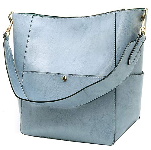 - Molodo Womens Satchel Hobo Top Handle Tote Leather Handbag Designer Shoulder Purse Bucket Crossbody Bag (Blue)