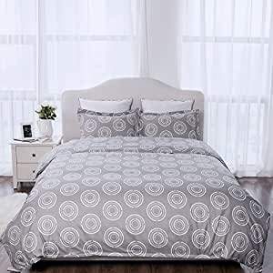 "Duvet Cover Set with Zipper Closure-Circle White Printed Pattern,Twin (66""x86"")-2 Piece (1 Duvet Cover + 1 Pillow Sham)-110 gsm Ultra Soft Hypoallergenic Microfiber by Bedsure"