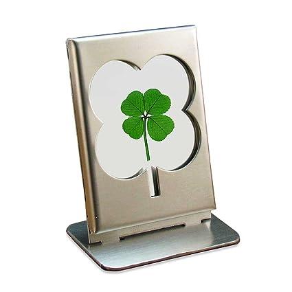 Amazon.com: Acero inoxidable y marco de vidrio con trébol de ...
