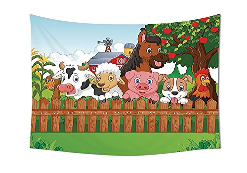 Horse Henry The Mascot (Cartoon Decor Tapestry Collection of Cute Farm Animals on the Fence Comic Mascots with Dog Cow Horse for Kids Decor Bedroom Living Room Dorm Wall Tapestries Multi)