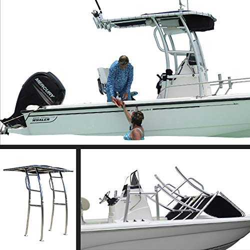 Boat T-Top - Twice Folding TTop for Center Consoles/Inflatables, Universal Fit – Polished and Anodized - Black - Pro Series