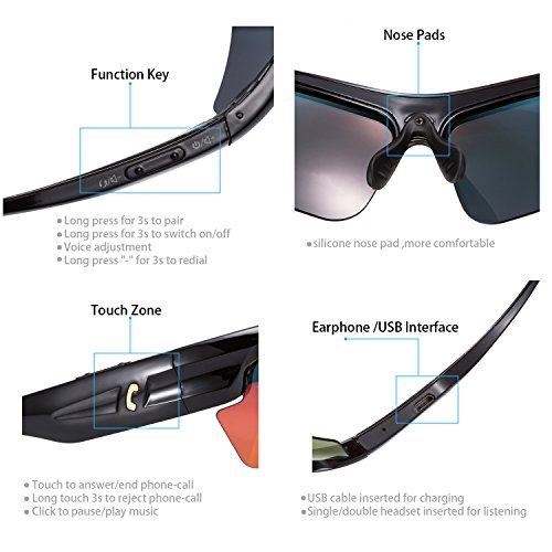 9ed5e530dc5f AUGIN Sports Bluetooth Sunglasses with Polarized Lens Smart Touch Wireless  Stereo MP3 Music Hand-free