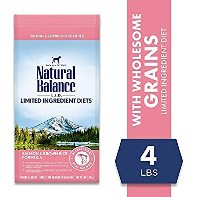 Natural Balance L.I.D. Limited Ingredient Diets Dry Dog Food, 4 Pounds, Salmon & Brown Rice Formula