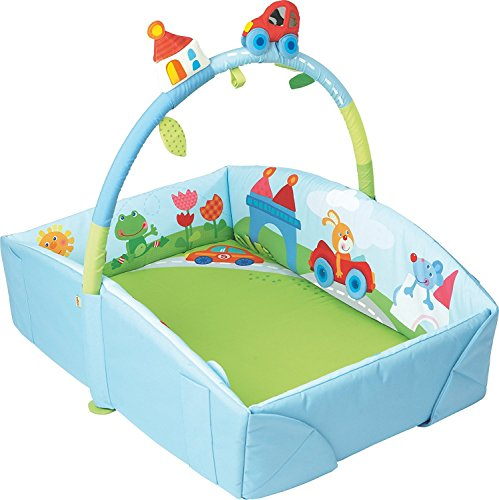 HABA Whimsy City Soft Fabric Play Gym with Detachable Arch - Use as a Play Surface, Changing Area or Small Bed by HABA