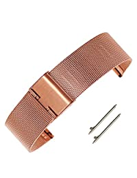 18mm Adjustable Rose Gold Chain Mesh Watch Bracelet Milanese Stainless Steel Watch Strap with Hook Buckle