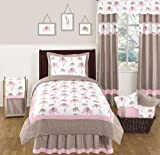Pink and Brown Mod Elephant Childrens and Kids Bedding 4 Piece Girls Twin Set