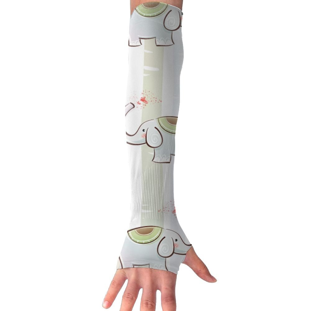Mossey Raymond UV Protection Hand Cover Arm Sleeves Sports Driving Golf Cooling Cool Cover Sun - 1 Pair, Elephant Stripes