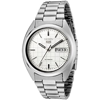 Seiko Mens SNXF05 Seiko 5 Automatic White Dial Stainless Steel Watch