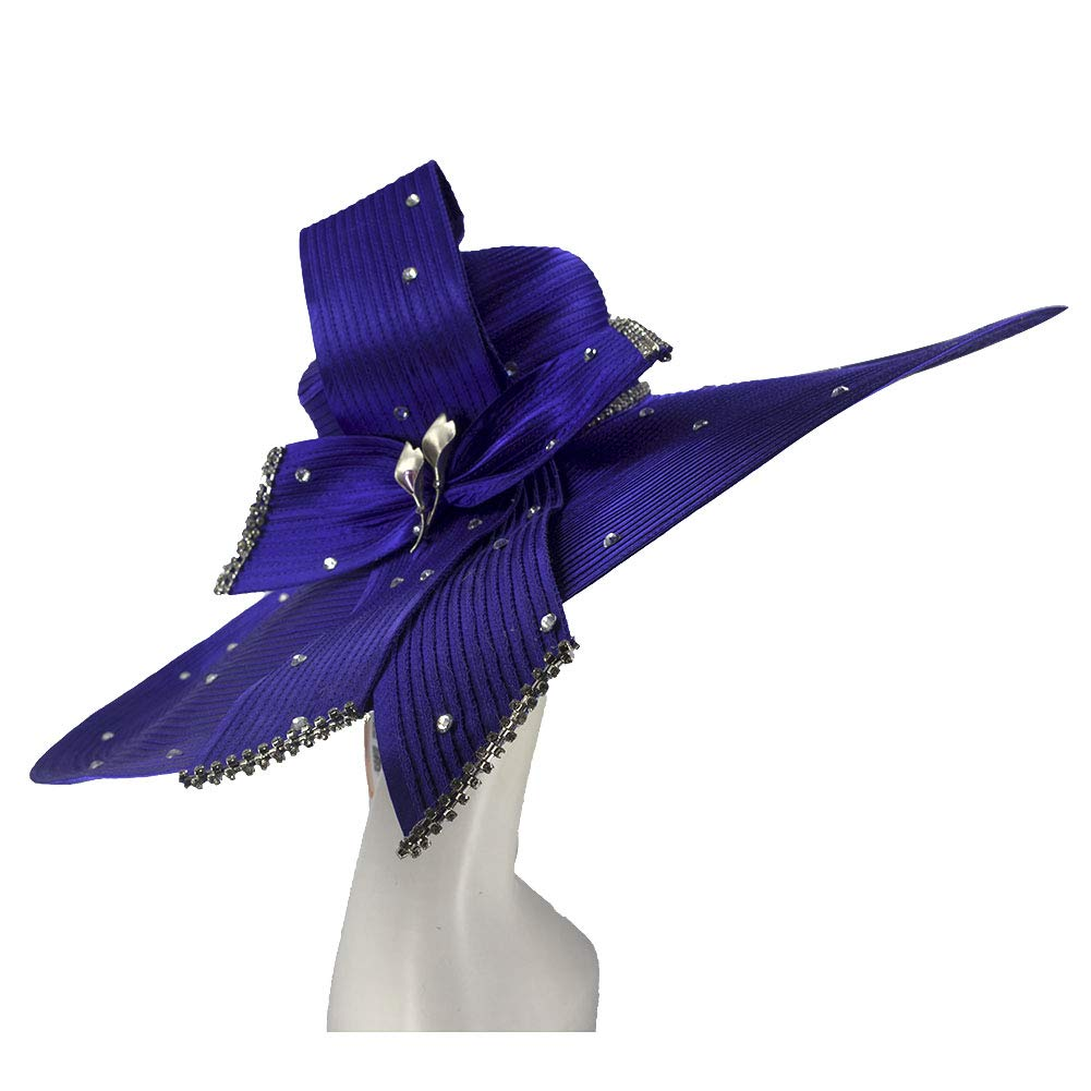 purple2 Kueeni Women Hats Hot Red color Church Hats Lady Party Wear Fedoras Hats