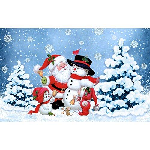 Ochine Christmas Diamond Painting, 16x12 Full 5D DIY Round Resin Diamond Painting Kits for Christmas Home Wall Decor (Santa Snowman)