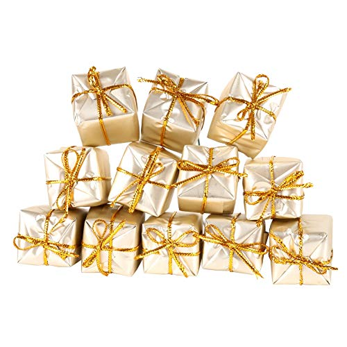 Cocohot 12PCS Christmas Tree Pendant Small Foil Gift Boxes Assorted Colors Wedding Party Favour Box Christmas Tree Decoration Hanging Ornaments (Light Gold, 12 / Box) -
