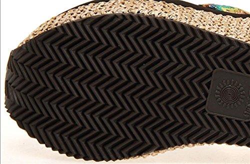 Damessnaren Tricot Platform Hoge Hakken Sleehakken Sandalen Teenslippers Pantoffels Beige