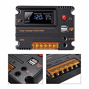 MOHOO 20A 12V 24V Solar Charge Controller Auto Switch LCD Intelligent Panel Battery Regulator Charge Controller Overload Protection