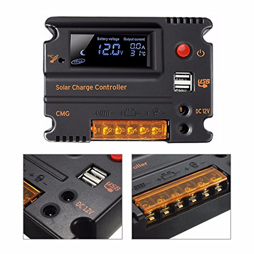 Mohoo 20A 12V 24V Auto Switch LCD Intelligent Solar Panel Battery Regulator Charge Controller Overload Protection Temperature Compensation MOHOO Co.,LTD Solar Power And Accessories