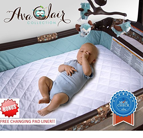 Pack 'N Play Mattress Cover & BONUS Changing Pad Liner! Waterproof Pad - Dryer Friendly - Best Fitted Crib Protector - Fits Most Mini & Portable Mattresses - Comfy & Hypoallergenic - Best Value
