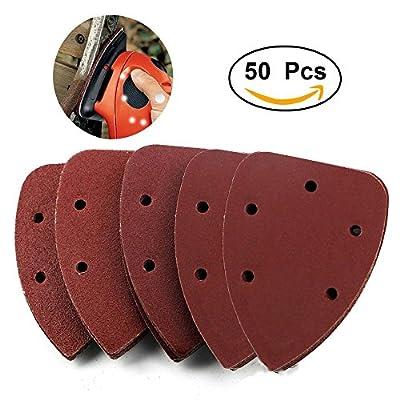 Exsart 50 PCS Mouse Sander Pads Sanding Sheets Discs for Black Decker Detail Palm Sander Mixed 40 80 120 180 240 Grits