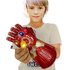 XXF New Iron Man Infinity Gauntlet for Kids, PVC Glove with Removable Infinity Stones-3 Flash Mode.