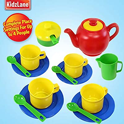 Kidzlane Play Tea Set, 15+ Durable Plastic Pieces, Safe and BPA Free for Childrens Tea Party and Fun: Toys & Games