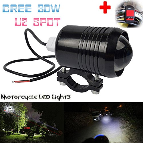 GOODKSSOP Super Bright CREE 30W U2 LED Spotlight Headlight Work Light Driving Fog Spot Lamp Universal for All Electric Bike Motorcycle ATV Truck With 1pcs ON/OFF Button Switch