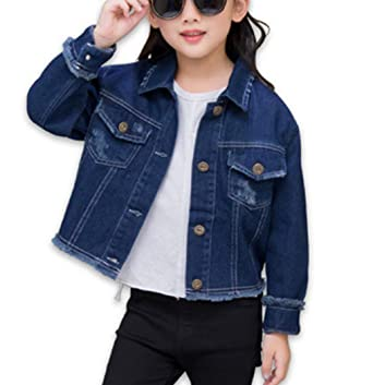 ae1f194de5a23 Denim Jackets Girl Denim Jackets Classic Basic Button Down Coat Girls   Outwear