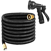 Uvistare 100FT Flexible Water Garden Hose, Triple Layer Latex & 8 Patterns Spray Nozzle for Home & Heavy Duty Commercial (Black)
