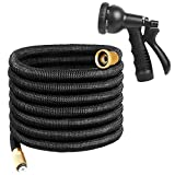Expandable Garden Hose, 100FT Flexible Water Hose, Triple Layer Latex & 8 Patterns Spray Nozzle for Home & Heavy Duty Commercial Use By Uvistare(100 Feet, Black)