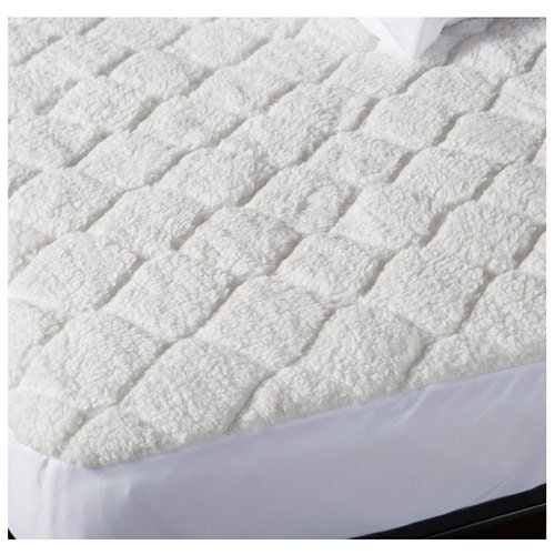 Biddeford 5301-9051128-100 Sherpa Quilted Skirt Electric Heated Mattress Pad, Full, White