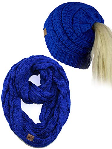 (C.C BeanieTail Messy High Bun Cable Knit Beanie and Infinity Loop Scarf Set, Royal)