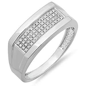 0.11 Carat (ctw) Sterling Silver Round White Diamond Micro Pave Wedding Band (Size 8)
