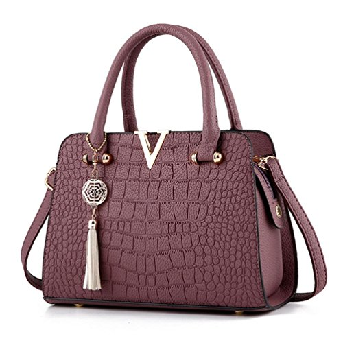 Hot Sale! Neartime Women Handbag, 2018 Woman's Tassel Crossbody Bags Leather Satchels Alligator Pattern Zipper Shoulder Bag (❤️28cm(L)×13cm(W)×20cm(H), Purple)]()